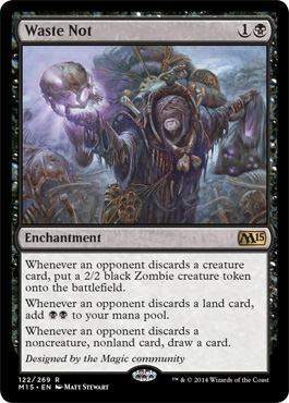 Whenever an opponent discard a creature card, put a 2/2 black Zombie creature token onto the battlefield. Whenever an opponet discards a land card, add BB to yuor mana pool. Whenever an oppononet discard a noncreature, nonland card, draw a card.