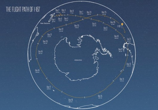 The voyage of Loon balloon I-167 as it circumnavigates the globe (source: Google)