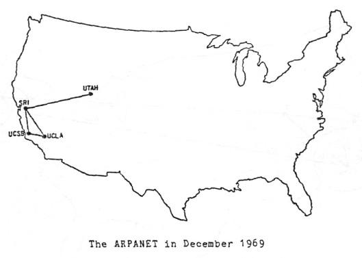 Mappa USA di Arpanet nel Dicembre 1969
